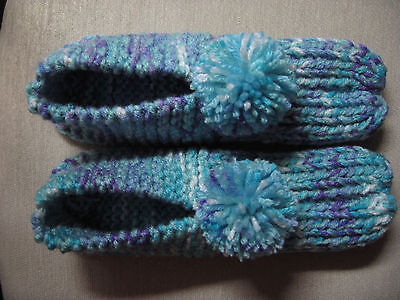 NWOT Amish Handmade Knit Hs Slippers Turquoise Mix Womans Lg Mans Med 9 3/4""