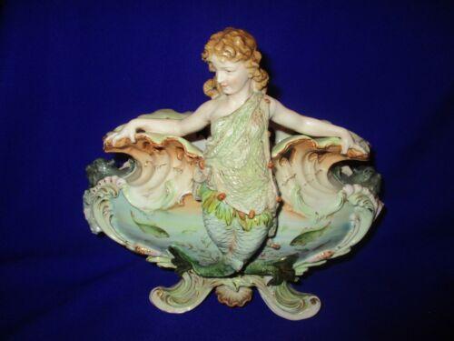Antique German Porcelain Royal Dux Style Mermaid Figure Bowl Centre Piece