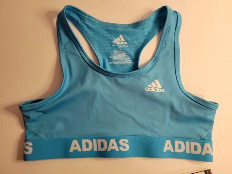 NWT Girls ADIDAS Aeroready Sports Bra Size 14 Turquoise