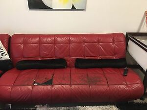 3-4 seater red leather lounge Zetland Inner Sydney Preview