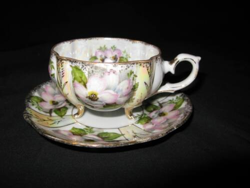 Original Napco China Footed Cup Saucer Magnolia Blossoms – IDD239 - Iridescent