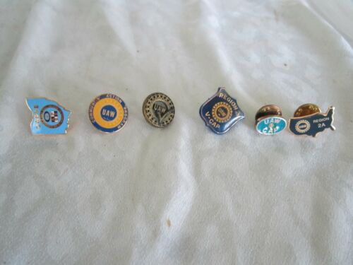 UAW United Auto Workers Vintage Lot of 6 Lapel PINs OAPSE.Region 2A.USA