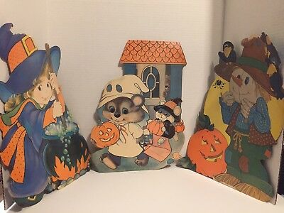 Halloween Die Cuts 3 Decorations Girl Witch Mouse Ghost Scarecrow Crows Cauldron - Halloween Decorations Witches Cauldron