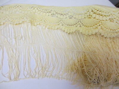 """8 1/2""""  Wide PALE YELLOW Venise Top Rayon Chainette Fringe Trim   - 61 inches"""