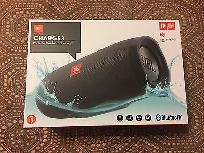 JBL Charge 3 BLACK Waterproof Portable Bluetooth Speaker New In Box