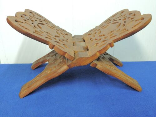 Hand Carved Wood Folding Book Rack Made in India Sarna Bible Cookbook Stand Exce