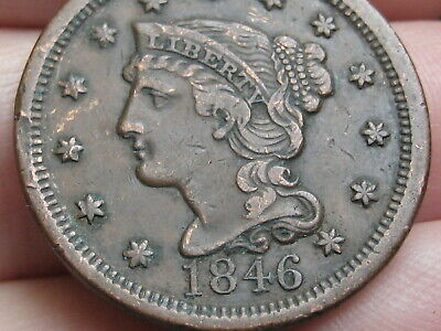 1846 Braided Hair Large Cent Penny- XF Details, Tall Date