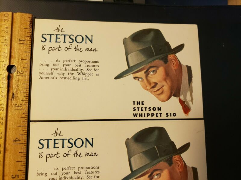 3 STETSON WHIPPET HATS Vintage Advertising Ink Blotter Trade Cards