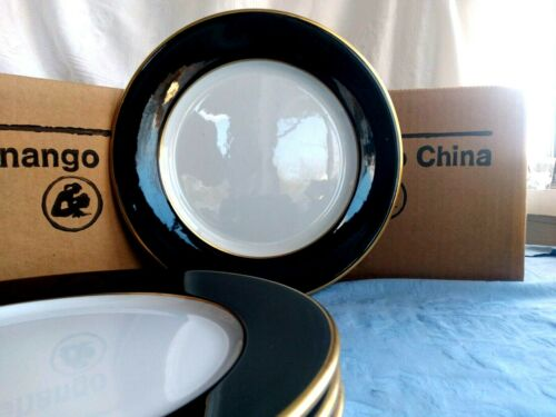 "4 Vintage BLACK & GOLD 22k Gold Accent 10 3/8"" DINNER PLATES - SHENANGO CHINA"