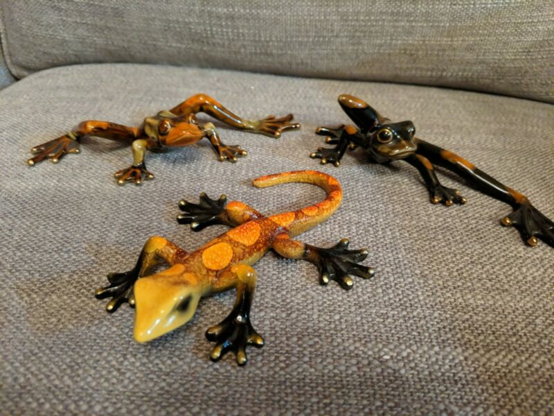 Golden Pond Collection - Two Ceramic Frogs and One Lizard