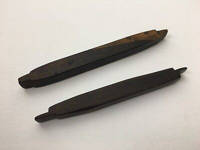 2 Antique Wooden Burnishers Shoe Leather Working Tools Edge Slickers