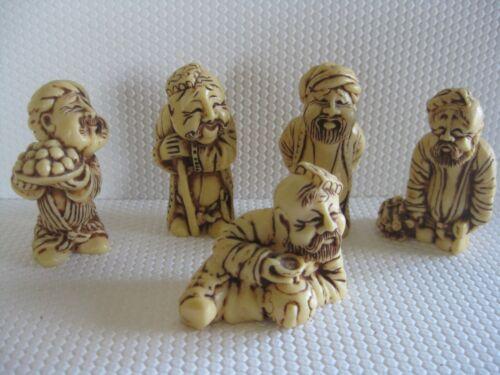 Five Netsuke Figures Resin/Plastic #1) Rod #2) Fruit #3) Wood #4) Cup #5) Beads