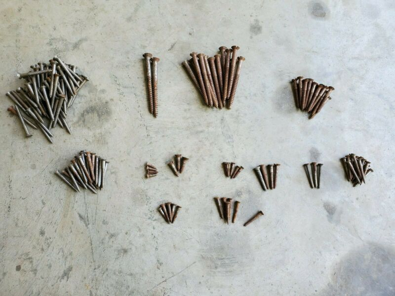 "Vintage Wood Screws 4½""- ½"" Flat/Slotted Head Wood Screws Assorted Lot 130pcs+/-"
