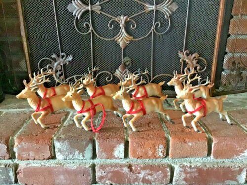 "8 Vtg 1950s or 60sHard Plastic Brown Reindeer Santa Sleigh Running Christmas 7"""