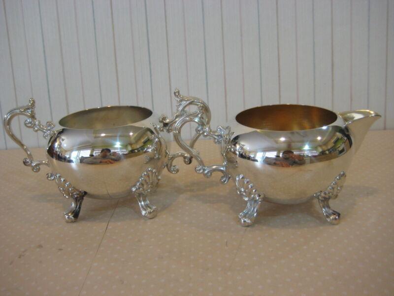 F.B. Rogers Silver Plated Sugar Bowl (Missing Lid) & Creamer Set