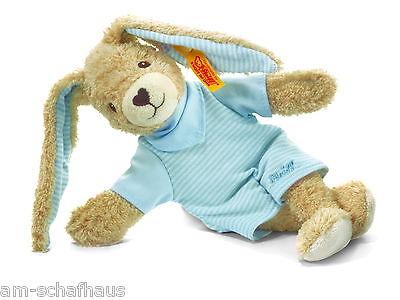 Steiff Baby Bio Baumwolle Hoppel Hase 20cm blau Kuscheltier Geschenk Neu 237508