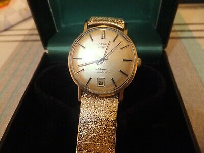 Very Nice Vintage 9 ct gold Rotary date watch / box.