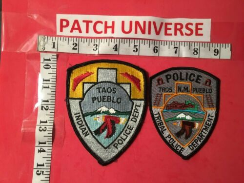 LOT OF TWO DIFF TAOS PUEBLO NM INDIAN  POLICE  SHOULDER PATCHES  S085