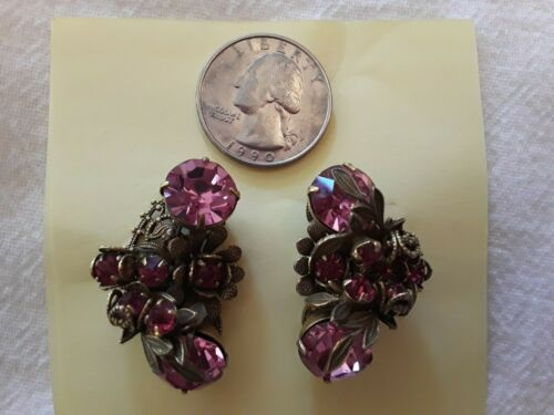Pair of Vintage Costume Clip-On Earrings Large Rhinestones - Pink & Red Stones