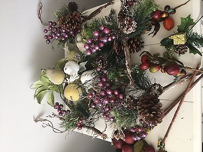LG Lot of Beaded Fruit Floral Stems Swag Christmas Fruit Picks Crafting Supplies