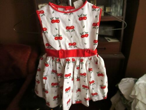 sz 4 4T Vintage Girls 50s Cinderalla All Cotton Cherry Print Party DRESS USA