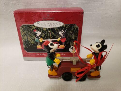 Hallmark 1998 Disney Mickey And Minnie Handcar Ornament