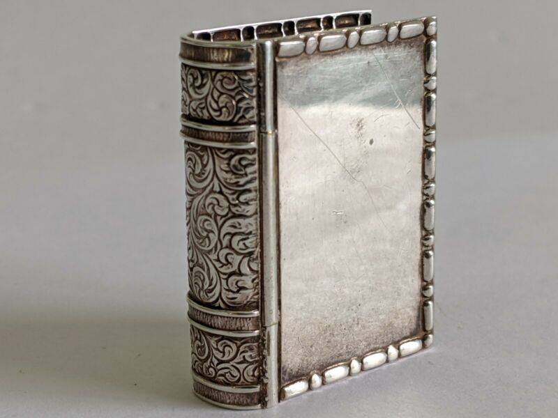 Antique Art Deco Silver Gilt 3D Embossed Shape of a Book Pillbox