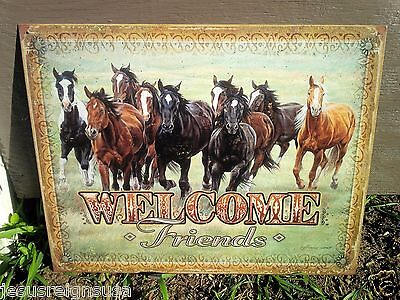 WELCOME FRIENDS HORSES Tin Metal Sign Wall Garage Classic