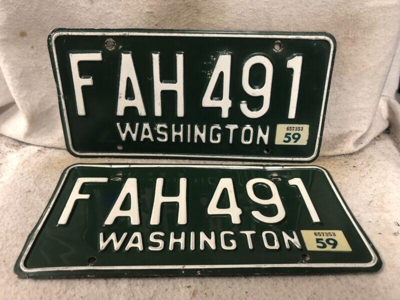 Vintage 1959 Washington License Plate Pair