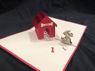 Dog House 3D Pop Up Card Puppy Dog Birthday Love Pet Happy Dog Walker Best