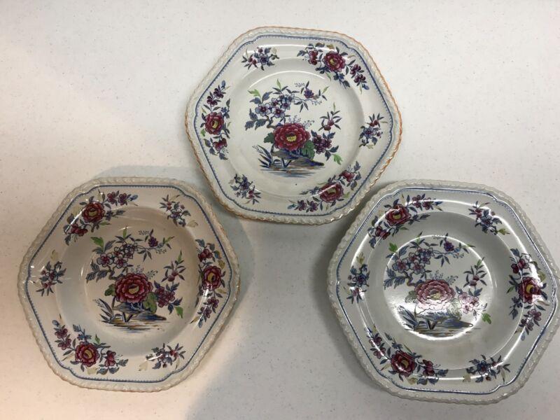 Three  J W Ridgeway antique plates FREE SHIPPING!