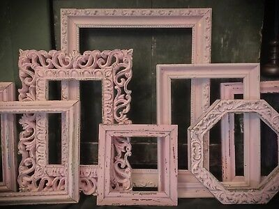 Inadmissible PINK EMPTY PICTURE FRAMES LARGE ~SHABBY COTTAGE CHIC DECOR~ NURSERY~.
