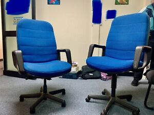 2 x Twin Royal Blue Corporate Office Chairs
