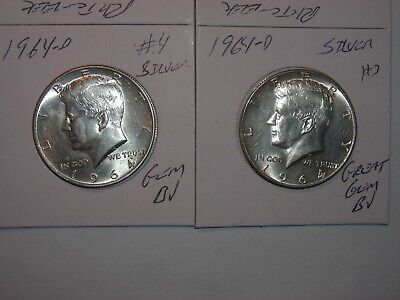 1964p BU Kennedy Silver Half Dollar In Air Tight Capsule From Roll Uncertified