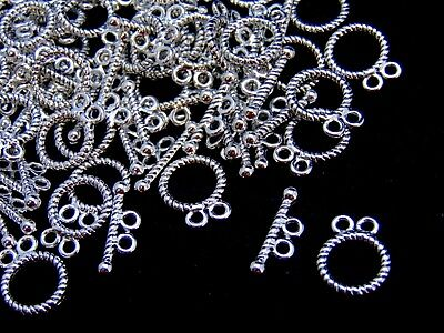 50 x Tibetan Silver Two Hole Round  Shape Toggle Clasps 15mm x 12mm Y141