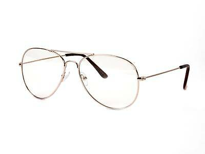 Gravity Shades Premium Aviator Clear Lens Glasses, Gold with microfiber case