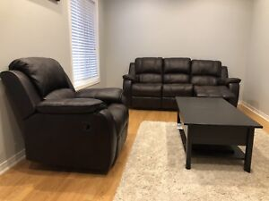 Leather Six Seaters with Built-In Recliners, Brown