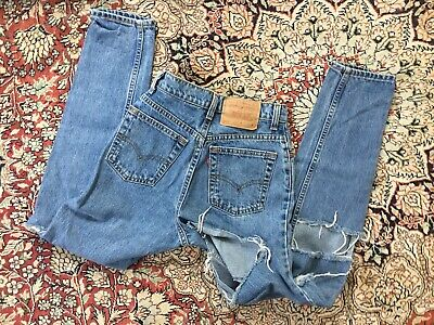 vtg 90s Levi's 512 Slim Fit Mom Jeans womens 24x29 Tears Holes made in usa 1981