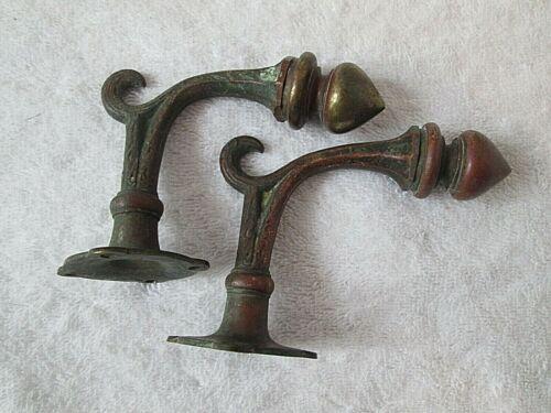 Antique Art Deco Brass Wall Hooks/Knobs Set of 2