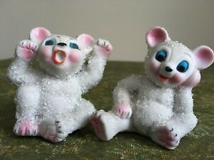 Pair of Vintage Snow Bear Figurines
