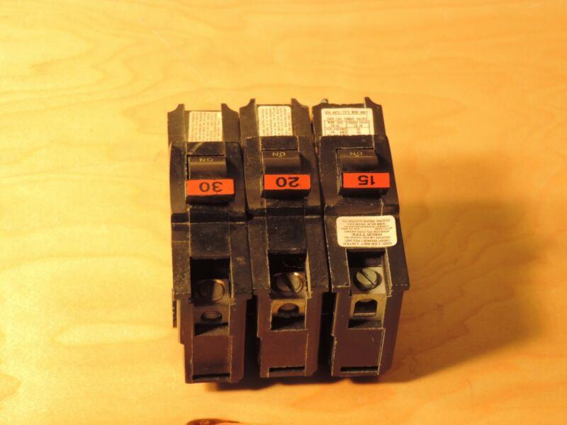 FEDERAL PACIFIC CIRCUIT BREAKERS 15-20-30 AMP WIDE