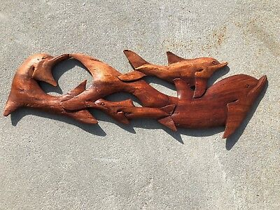 "24"" DOLPHIN & FRIENDS NATURAL TEAK WOOD HANGING WALL ART PLAQUE PATIO HOME DECOR"