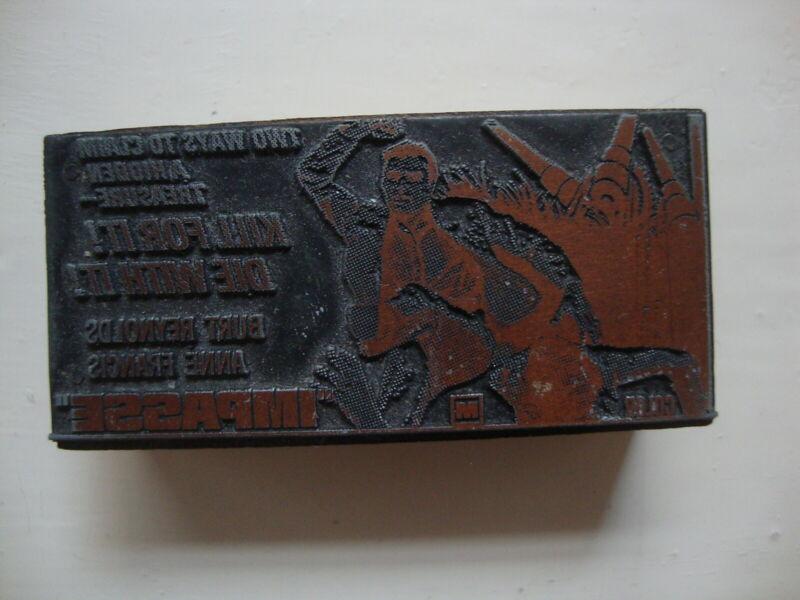 Movie Ad Printing Letterpress Printers Block Burt Reynolds Impasse 1969