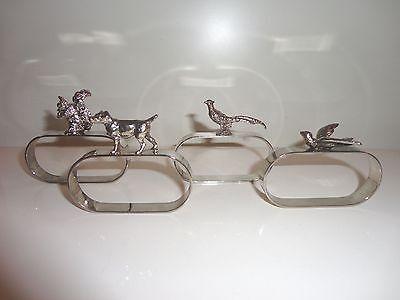 4 x antik figürlicher Serviettenring - Hund Fasan Eichhörnchen Schwalbe - Tiere