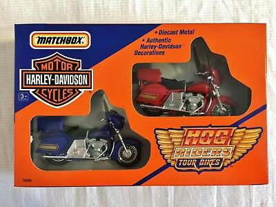 Matchbox Harley-Davidson Hog Riders Tour Bikes, Diecast Metal, 1992 MIB