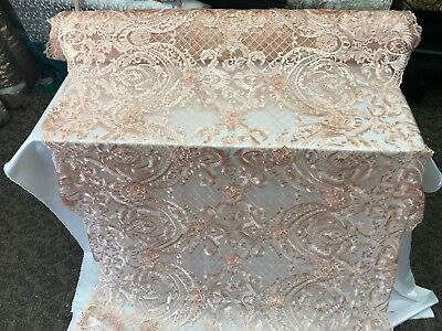 peach - Design Beaded Mesh Lace Fabric Bridal Wedding Sold By Yard clothing prom ()