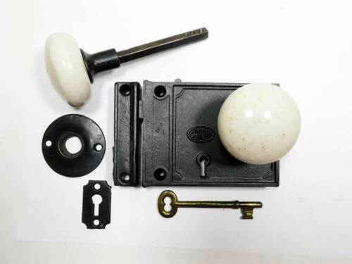 Antique Victorian Cast Iron Rim Lock, Signed Corbin, Restored, Complete