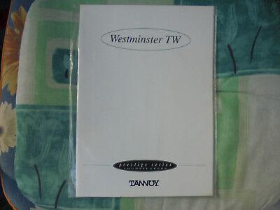 Orig. TANNOY WESTMINSTER TW hochglanz - Bedienungsanleitung -Prestige Series,OVP