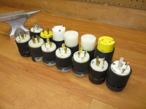 Lot of 13 Industrial Electrical Plugs New/Used Hubbell Leviton Pass & Seymour