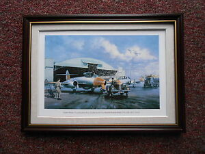 Norman Hoad Aircraft print 'Gloster Meteor T7's - Roya Airforce Strubby' FRAMED